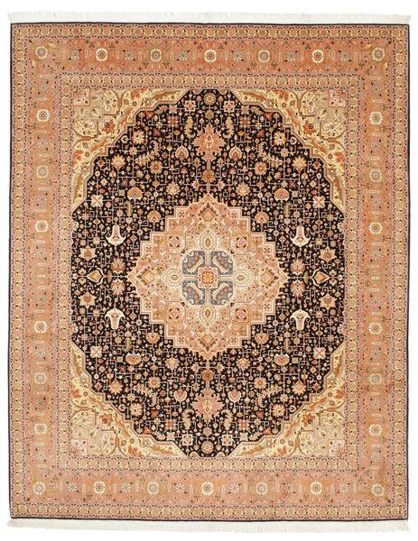 Tabriz 50 Raj Med Silke Matta 247X305 Äkta Orientalisk Handknuten Ljusbrun/Brun (Ull/Silke, Persien/Iran)