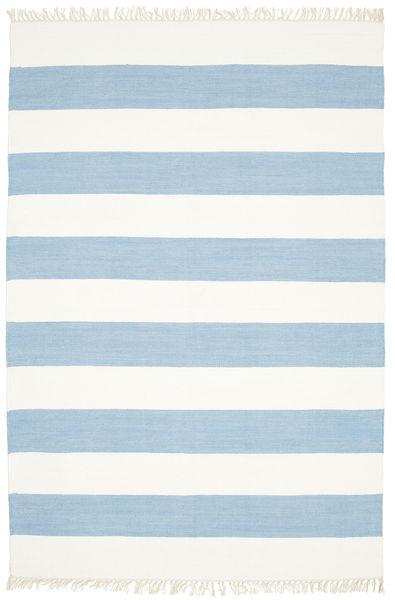 Bomull Stripe - Ljus Blå Matta 160X230 Äkta Modern Handvävd Ljusblå/Beige (Bomull, Indien)