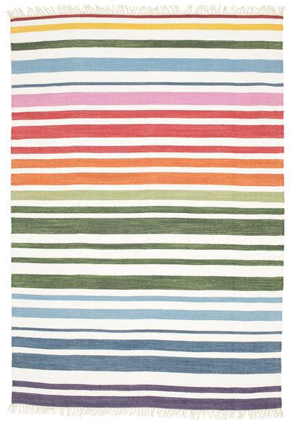 Rainbow Stripe - Vit Matta 160X230 Äkta Modern Handvävd Vit/Cremefärgad (Bomull, Indien)
