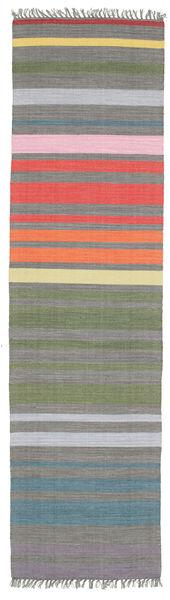 Rainbow Stripe - Grå Matta 80X300 Äkta Modern Handvävd Hallmatta Mörkgrå/Ljusgrå (Bomull, Indien)