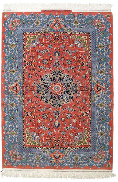 Isfahan Silkesvarp Signerad: Haghighi Matta 150X220 Äkta Orientalisk Handknuten Mörkgrå/Mörkröd (Ull/Silke, Persien/Iran)