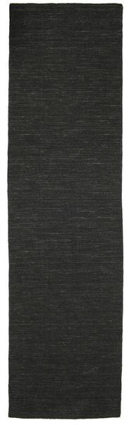 Kelim Loom - Svart Matta 80X300 Äkta Modern Handvävd Hallmatta Svart (Ull, Indien)