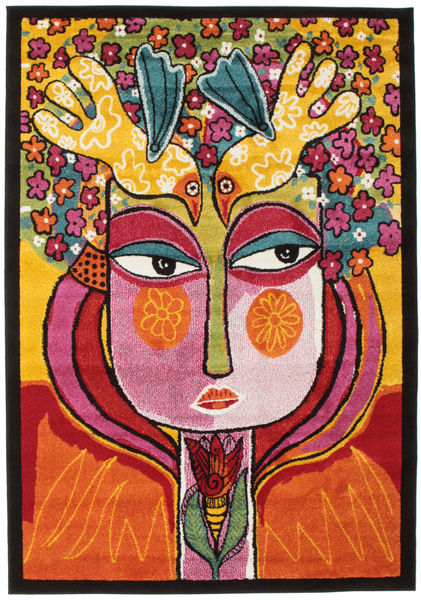 She Has Flowers In Her Hair Matta 140X200 Modern Mörkbrun/Orange ( Turkiet)