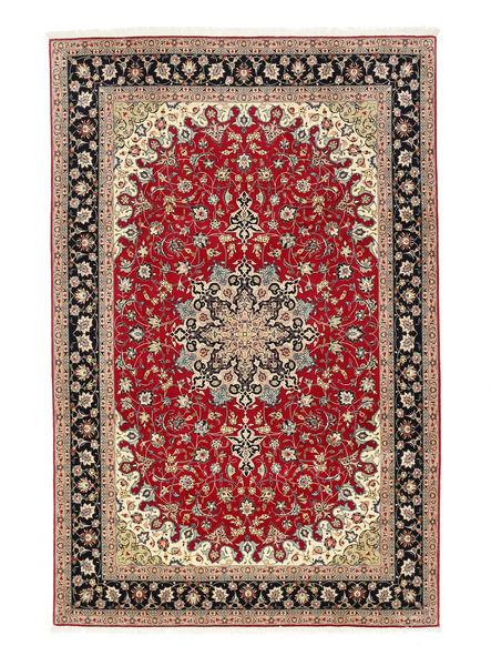 Tabriz 50 Raj Matta 198X307 Äkta Orientalisk Handknuten Mörkröd/Ljusbrun (Ull/Silke, Persien/Iran)
