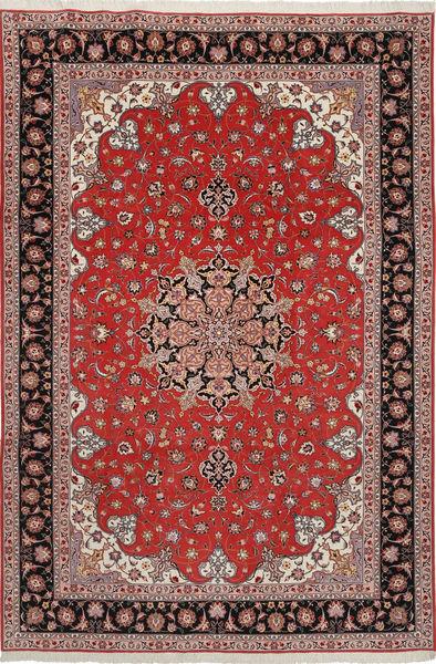 Tabriz 50 Raj Med Silke Matta 204X305 Äkta Orientalisk Handknuten Mörkröd/Mörkbrun (Ull/Silke, Persien/Iran)