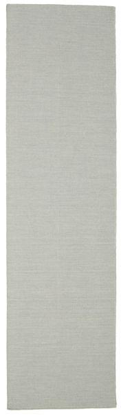 Kelim Loom - Grå Matta 80X300 Äkta Modern Handvävd Hallmatta Ljusgrå (Ull, Indien)