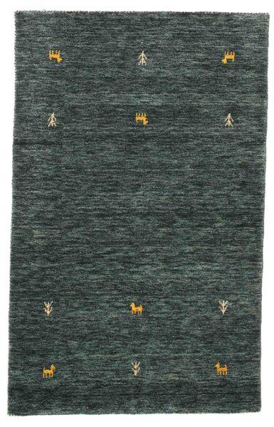 Gabbeh Loom Two Lines - Mörkgrå/Grön Matta 100X160 Modern Svart/Mörkgrå (Ull, Indien)
