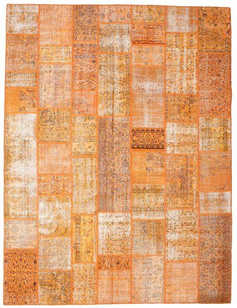 Patchwork Matta 275X364 Äkta Modern Handknuten Orange/Ljusbrun Stor (Ull, Turkiet)