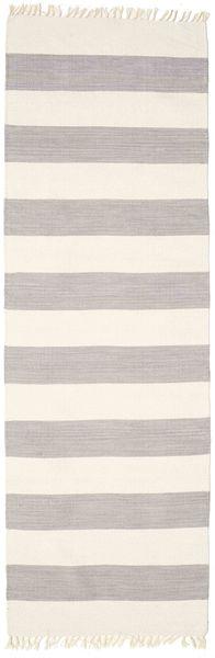 Bomull Stripe - Stålgrå Matta 80X300 Äkta Modern Handvävd Hallmatta Ljusgrå/Mörkgrå (Bomull, Indien)
