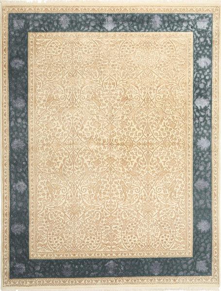 Tabriz Royal Magic Matta 198X253 Äkta Orientalisk Handknuten Beige/Mörkbeige ( Indien)