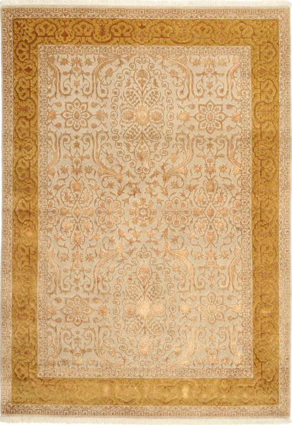 Tabriz Royal Magic Matta 169X245 Äkta Orientalisk Handknuten Mörkbeige/Ljusbrun/Beige ( Indien)
