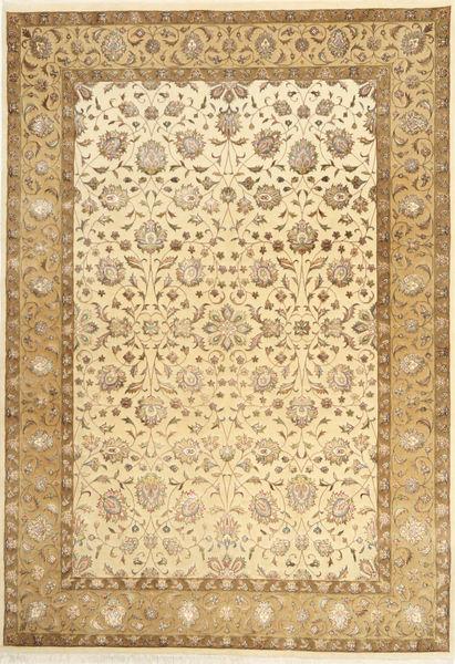 Tabriz Royal Magic Matta 167X241 Äkta Orientalisk Handknuten Mörkbeige/Ljusbrun ( Indien)