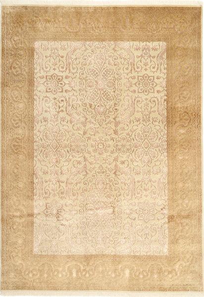 Tabriz Royal Magic Matta 167X238 Äkta Orientalisk Handknuten Beige/Mörkbeige/Ljusbrun ( Indien)
