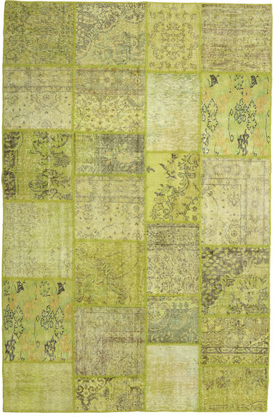 Patchwork Matta 199X304 Äkta Modern Handknuten Olivgrön/Gul (Ull, Turkiet)