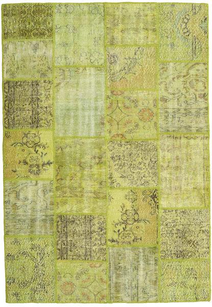 Patchwork Matta 158X231 Äkta Modern Handknuten Ljusgrön/Olivgrön (Ull, Turkiet)
