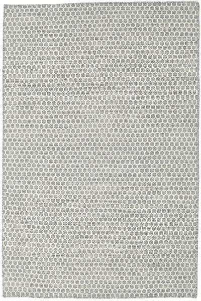 Kelim Honey Comb - Grå Matta 120X180 Äkta Modern Handvävd Ljusgrå/Beige (Ull, Indien)