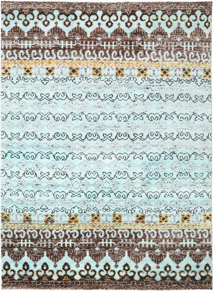 Quito - L. Blå Matta 240X290 Äkta Modern Handknuten Ljusblå/Mörkgrå (Silke, Indien)