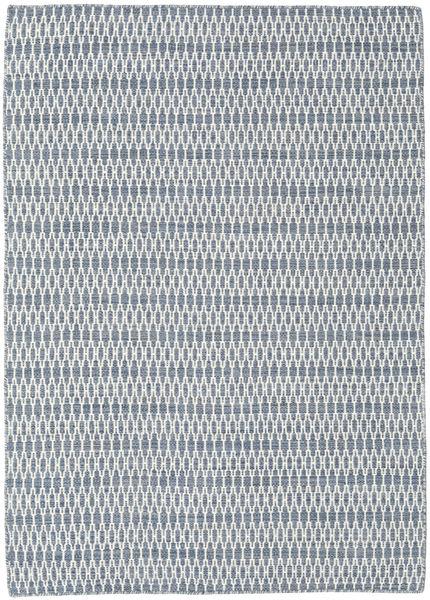 Kelim Long Stitch - Blå Matta 140X200 Äkta Modern Handvävd Ljusblå/Vit/Cremefärgad/Ljusgrå (Ull, Indien)