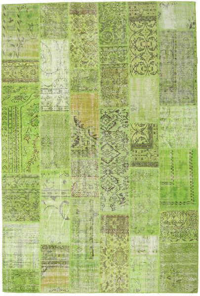 Patchwork Matta 203X303 Äkta Modern Handknuten Ljusgrön/Olivgrön (Ull, Turkiet)