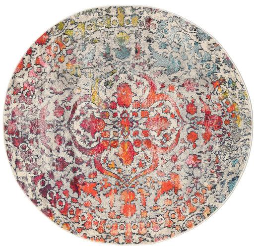 Kaleidoscope - Multi Matta Ø 150 Modern Rund Ljusgrå/Mörkbrun ( Turkiet)