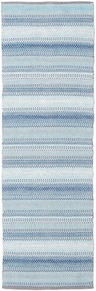 Wilma - Blå Matta 80X350 Äkta Modern Handvävd Hallmatta Ljusblå/Beige (Bomull, Indien)