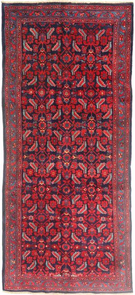 Hamadan Matta 137X320 Äkta Orientalisk Handknuten Hallmatta Mörkröd/Röd (Ull, Persien/Iran)