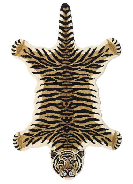 Tiger - Beige Matta 100X160 Modern Mörkblå/Ljusbrun (Ull, Indien)