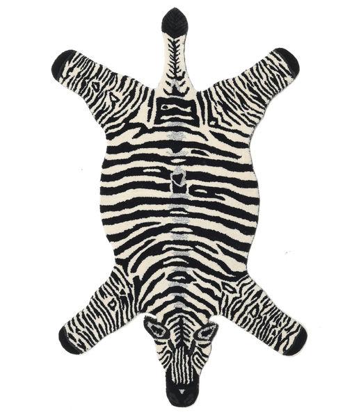 Zebra Matta 100X155 Modern Svart/Beige (Ull, Indien)