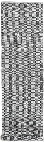 Alva - Grå/Svart Matta 80X350 Äkta Modern Handvävd Hallmatta Ljusgrå/Mörkbrun/Mörkgrå (Ull, Indien)