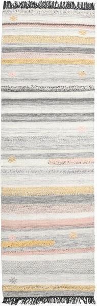 Ragna Matta 80X250 Äkta Modern Handvävd Hallmatta Ljusgrå/Beige (Ull, Indien)