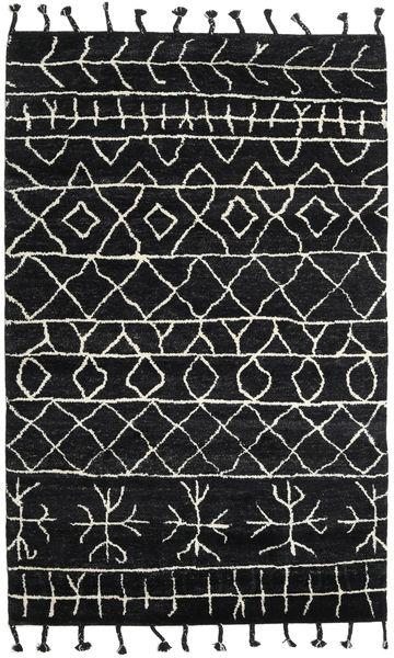 Moss Berber - Svart Matta 180X275 Äkta Modern Handknuten Svart (Ull, Indien)