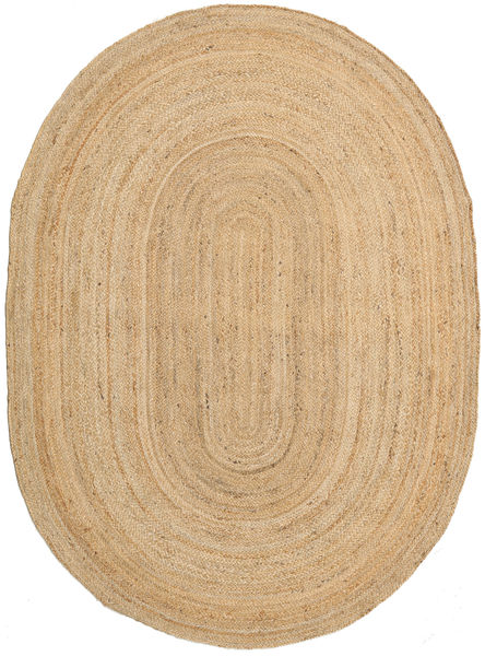 Utomhusmatta Frida Oval - Natural Matta 160X230 Äkta Modern Handvävd Mörkbeige/Beige (Jutematta Indien)