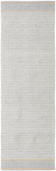 Norma - Gul Matta 80X250 Äkta Modern Handvävd Hallmatta Ljusgrå/Vit/Cremefärgad (Bomull, Indien)