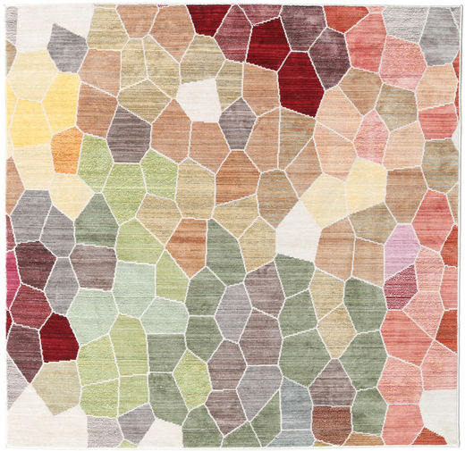 Play Of Colours Matta 150X150 Modern Kvadratisk Ljusgrå/Mörkbeige ( Turkiet)