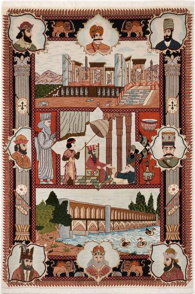 Tabriz 50 Raj Matta 103X150 Äkta Orientalisk Handknuten Ljusgrå/Mörkröd/Mörkbrun (Ull/Silke, Persien/Iran)