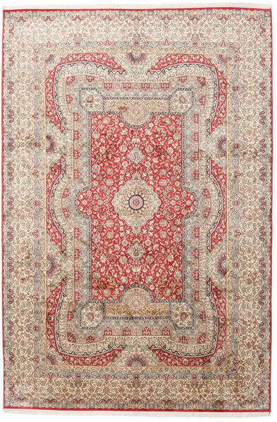 Kashmir Äkta Silke Matta 217X323 Äkta Orientalisk Handknuten Ljusgrå/Ljusrosa (Silke, Indien)