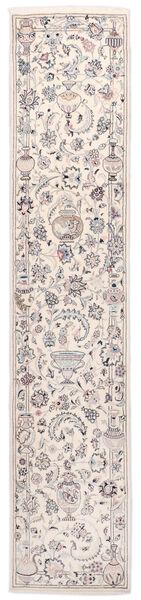 Nain 9La Matta 73X350 Äkta Orientalisk Handknuten Hallmatta Beige/Ljusgrå (Ull/Silke, Persien/Iran)
