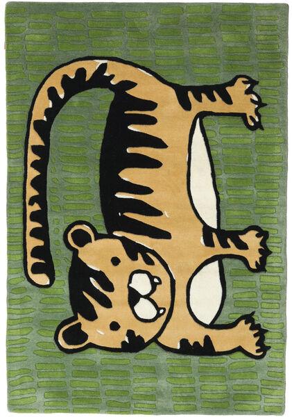 Cool Cat - Gul Matta 120X180 Modern Mörkgrön/Svart (Ull, Indien)
