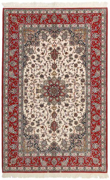 Isfahan Silkesvarp Matta 157X245 Äkta Orientalisk Handvävd Mörkröd/Ljusgrå (Ull/Silke, Persien/Iran)