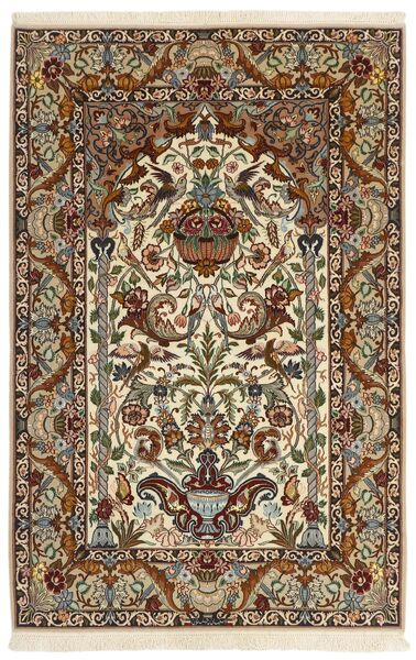 Isfahan Silkesvarp Matta 130X201 Äkta Orientalisk Handvävd Beige/Mörkbrun/Brun (Ull/Silke, Persien/Iran)