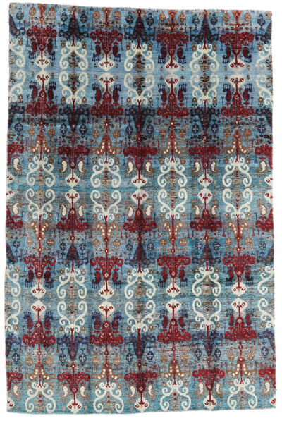 Sari Äkta Silke Matta 205X312 Äkta Modern Handknuten Ljusblå/Mörklila (Silke, Indien)