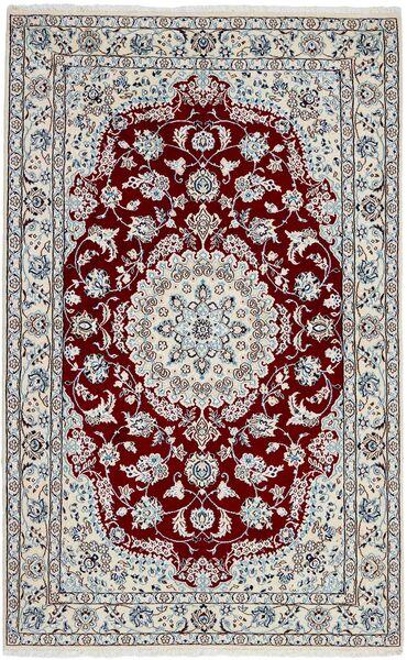 Nain 9La Matta 128X205 Äkta Orientalisk Handknuten Ljusgrå/Mörkröd (Ull/Silke, Persien/Iran)