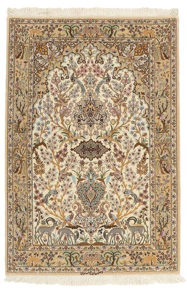 Isfahan Silkesvarp Matta 103X153 Äkta Orientalisk Handknuten Brun/Beige (Ull/Silke, Persien/Iran)