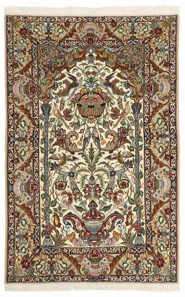 Isfahan Silkesvarp Matta 130X202 Äkta Orientalisk Handknuten Mörkbrun/Beige (Ull/Silke, Persien/Iran)