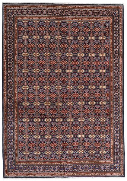 Moud Matta 262X375 Äkta Orientalisk Handknuten Mörkbrun/Mörkröd Stor (Ull/Silke, Persien/Iran)