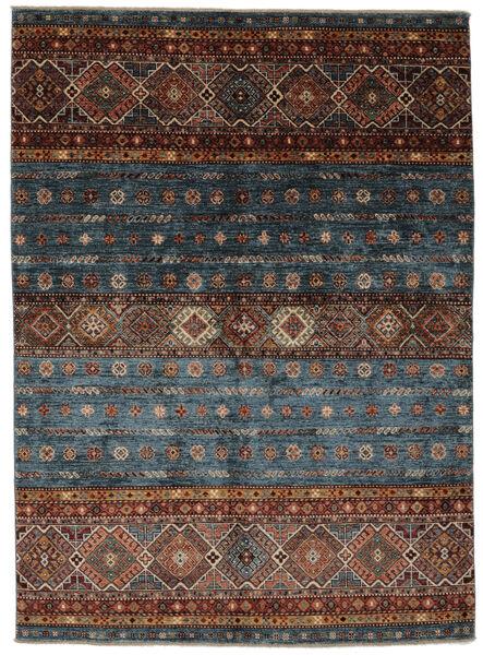 Shabargan Matta 151X209 Äkta Modern Handknuten Svart/Mörkbrun (Ull, Afghanistan)