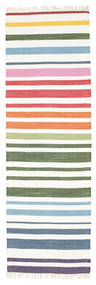 Rainbow Stripe - Vit Matta 80X250 Äkta Modern Handvävd Hallmatta Beige/Vit/Cremefärgad (Bomull, Indien)