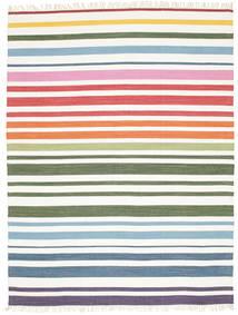 Rainbow Stripe - Vit Matta 200X250 Äkta Modern Handvävd Beige/Vit/Cremefärgad (Bomull, Indien)