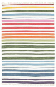 Rainbow Stripe - Vit Matta 140X200 Äkta Modern Handvävd Vit/Cremefärgad/Beige (Bomull, Indien)