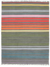 Rainbow Stripe - Grå Matta 200X250 Äkta Modern Handvävd Ljusgrå/Olivgrön (Bomull, Indien)